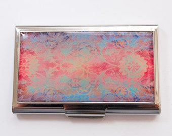 Business Card Case, business card holder, Stainless steel case, Abstract Design, Card case, red, blue, purple (3604)