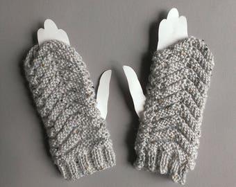 women grey mittens handmade knit