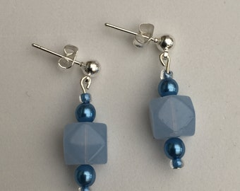 Hand Crafted Blue Beaded Earrings