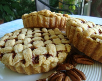 Individual Chocolate Pecan Lattice Pies - Chocolate Pies - Pecan Pies - Christmas Pies - Thanksgiving Pies - Pies - Lattice Pies - 6 or 8 ea