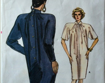 1980s Vogue Vintage Sewing Pattern 7086, Size 8-10-12; Misses' Dress