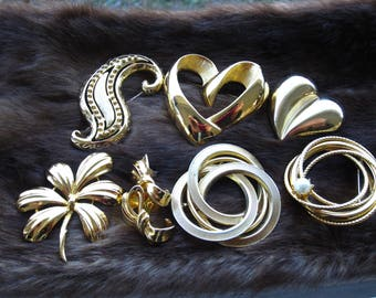 Six Gold Filled Vintage Heart and Circle Brooches