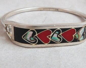 Vintage Taxco Mexico Enamel Hearts Abalone Sterling Silver Cuff Bracelet