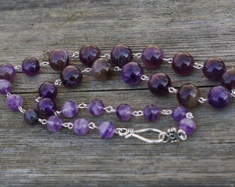 Natural Amethyst Necklace ~ Purple Stones ~ Bohemian Style ~ February Birthstone ~ Polished Stone Jewellery ~ Mother's Day Gift