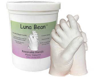 DIY Luna Bean Keepsake Hands 3D Plaster Statue Hand Casting Kit - Create a stone replica of couple, parent & baby, wedding, anniversary