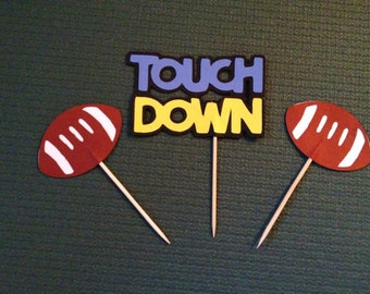 Football/Touch Down Cupcake Toppers - Sports - Set of 12