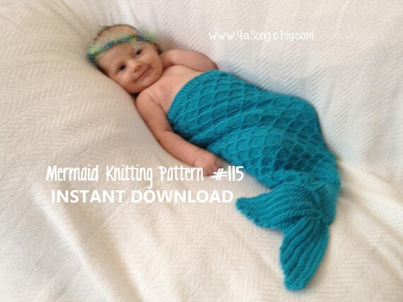 Mermaid Tail Cocoon Knitting Pattern Charming Newborn Photo