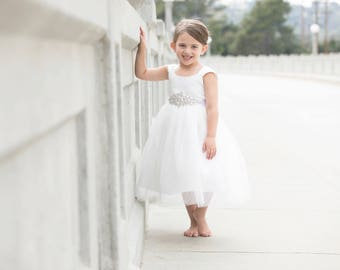 flower girl dress tulle, flower girl dress ivory, flower girl dresses for weddings, white dress, first communion, christening, baptism