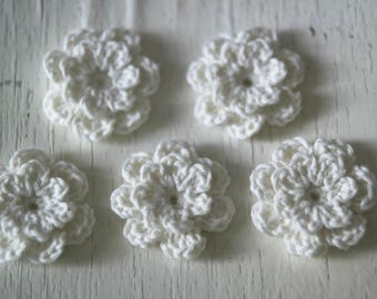 Wedding decor Home decor crochet flower applique Scrapbooking set Hippie ornaments Bohemian style 5 shabby chic lace handmade flowers