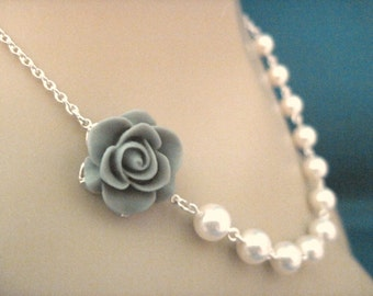 Bridesmaid Jewelry, Bridal Jewelry Gray Rose and Pearl Bridesmaid Necklace