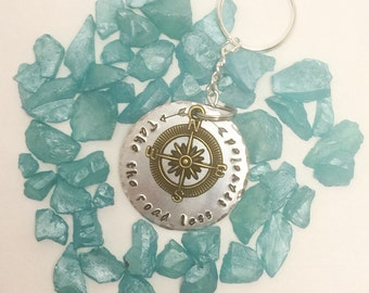 take the road less traveled  - hand stamped metal key chain with charm