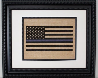 POLICE Gift - Thin Blue Line Flag - State Police, Law Enforcement, Deputy, State Trooper -  Home Decor on Burlap