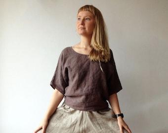 Linen Shirt Women, Shirt with Sleeves, Linen Top, Linen T Shirt, Linen Tee, Plus size shirt, Linen Blouse, Loose Linen Shirt, Plus size top
