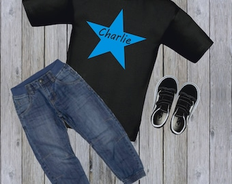 Personalised Boys T-shirt Star with Name