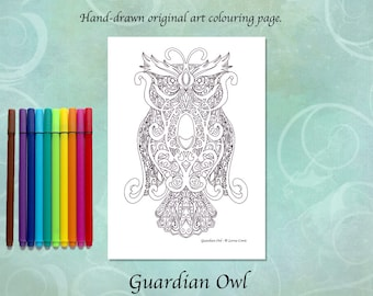 Guardian Owl Printable Colouring Page