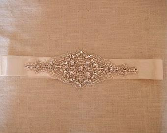 Rhinestone Sash Belt, Bridal Sash Belt, Wedding Dress Belt, Crystal Rhinestone Belt, Bridal dress accessories, YD047