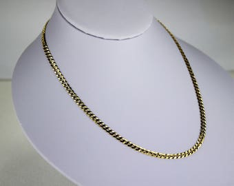 """10K Solid Yellow Gold CUBAN CHAIN Necklace for women men 3.7mm/16""""~30"""""""