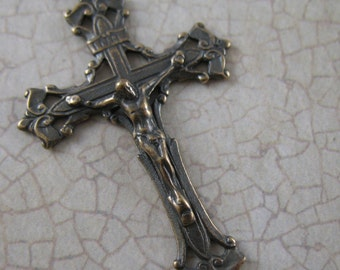 Vintage Inspired Crucifix Rosary Parts Pure Bronze Crucifix Religious Jewelry Supplies