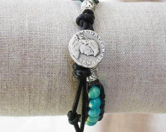Black Leather Bracelet with Silver and Turquoise Beads