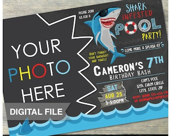 "Shark Pool Party Birthday Chalkboard Bash  Invitation Splash Swim Boy or Girl - Photo - DIGITAL Printable Invite - 5"" x 7"""