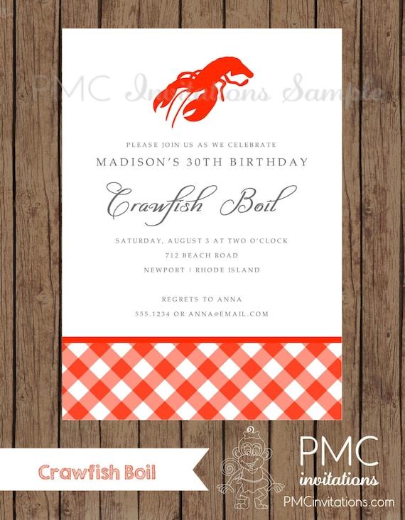 Custom Printed Crawfish Boil Invitations 100 each with
