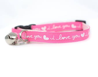 """Valentine's Day Cat Collar - 3/8"""" wide - pink cat collar - I love You cat collar - kitten collar - cute cat collar - kitty collar - girl"""