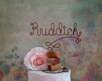 NAME Wine Wedding Cake Topper, Vineyard Wedding Cake Decoration, Wine Wedding Centerpiece, Rustic Wedding Decoration, Bridal Shower Decor