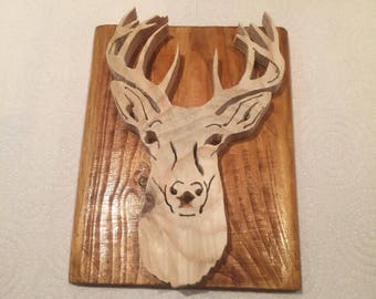 Handcrafted rustic wooden Stags Head on plaque