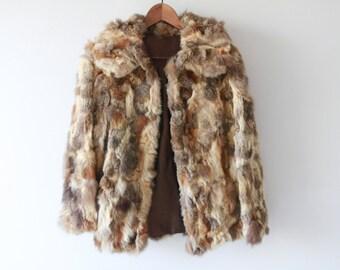 ON SALE / 1970s Patchwork Rabbit Fur Jacket / Vintage 70s Fur Coat / XS / Small