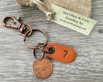 7th anniversary gift, USA copper wedding anniversary, 7 years married 2011 coin keyring United States penny clip key chain man husband woman