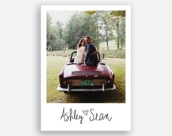 Wedding Photo Personalized Handwritten Name Engagement Destination Card Custom Photo Template Download or Print