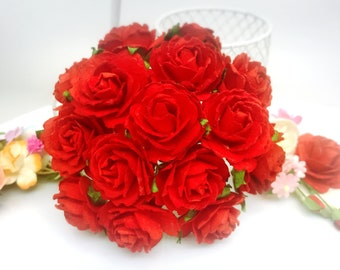 20 pcs. red Rose Mulberry Paper Flower Craft Handmade Wedding 25 mm Scrapbook #101