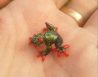 Gold Dichroic Baby Frog Sculpture