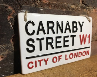 CARNABY STREET-City of London-London Street Sign-London Shops-British Gifts-London signs-UK-London tourist-West End-Ceramic plaque-Shopping