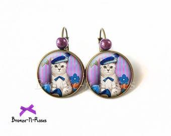 """Bronze """"Gentleman cat"""" accessory purple blue cabochon earrings Leverback"""