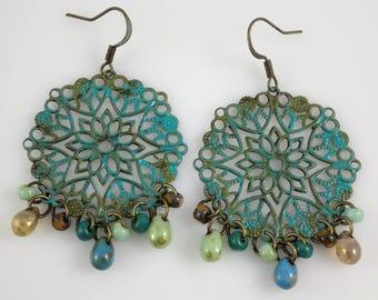 Bronze Green and Turquoise Blue Patina Filigree Beaded Dangle Earrings