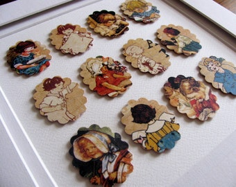 Inventory Clearance Vintage Childhood Scenes in 3D Scalloped Cameo Shapes / Memories of Bygone Days / Nursery Wall Art / 8x8 inches