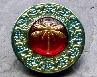 Rare Button, Dragonfly Button, Vintage Button, Ornate Button, Hand Painted, Czech Glass Button, Unique Button, Bohemian Button, 1