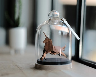 Sculpture Origami Unicorn. Blade Runner. Paper anniversary gift for her. Taxidermy. Copper decor. First Wedding Gift For Her. Curiosity.