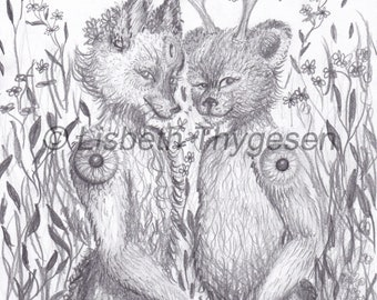 "Original Art: ""Bff's"". Best friends, woodland, animal, spirit, spiritual, buddies, girlfriend, friend, together, bff, art, pencil, drawing"