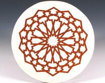 Mandala Trivet - Decorative Tile - Kitchen Accent Tile - Terracotta and Cream Ceramic Trivet - Tile Trivet - Moroccan Hot Plate - Art Tile