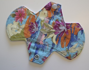 "6.75"" liner, reusable cloth pantyliner - lotus pond 2"