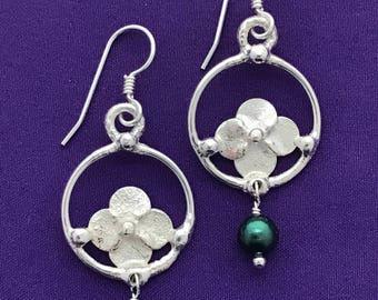 Handmade Flower Earrings - Dangle Botanical Earrings - Hydrangea Blossom Earrings - Handcrafted Blossom Earrings - Teal Pearls