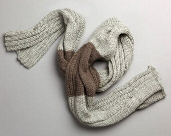 Scarf knit adult 100% handmade in France wool two-tone grey long cable