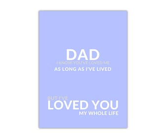 Dad I know you've loved me as long as I've lived but I've loved you my whole live, Father's day Printable, gifts for Dad, Dad birthday gift