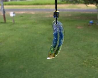 Suncatcher glass fused feather