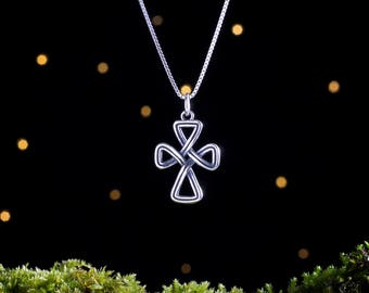 Sterling Silver Celtic Cross Infinity Knot - Double Sided -  (Pendant, Necklace or Earrings)
