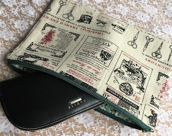 Clutch bag, zip pouch, french haberdashery pattern