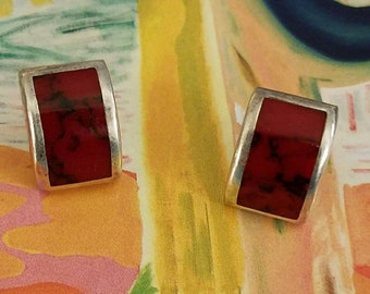 Vintage Mexican Sterling Red Coral Earrings