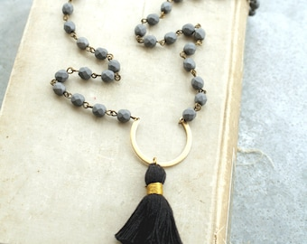 Long Tassel Necklace, Gray Beaded Necklace, Long Necklace, Black Tassel Necklace, Bohemian Jewelry